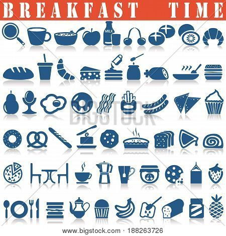 Breakfast icons set on a white background with a shadow