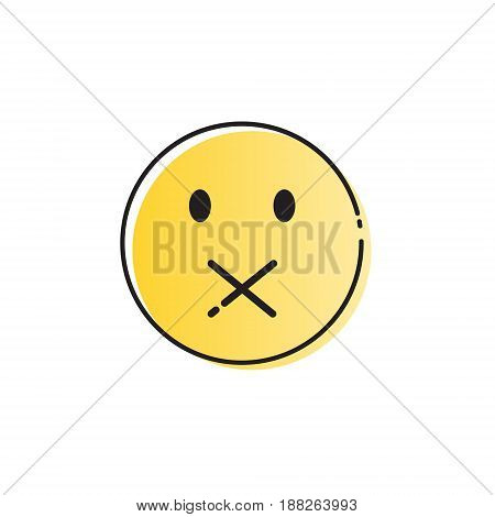 Yellow Cartoon Face Silent Not Speaking People Emotion Icon Vector Illustration