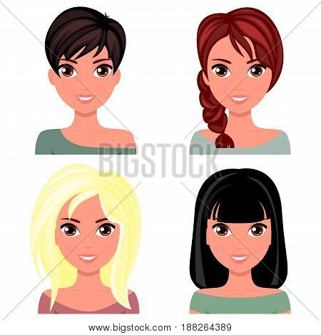 Woman beautiful face with different hairstyles. Cartoon beautiful girl in flat design style. Avatar business woman. Vector.
