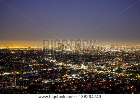 City lights of Los Angeles - amazing aerial view