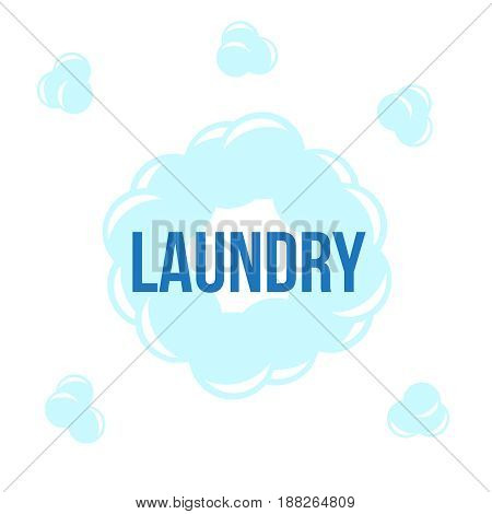 Laundry service poster design. Laundry icons circle label with text.