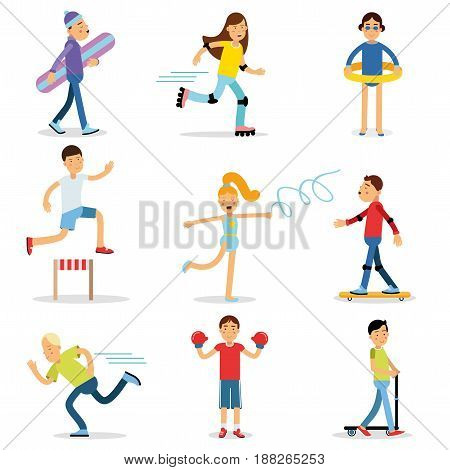 Teenagers children playing sports set. Children physical activity vector illustrations isolated on a white background