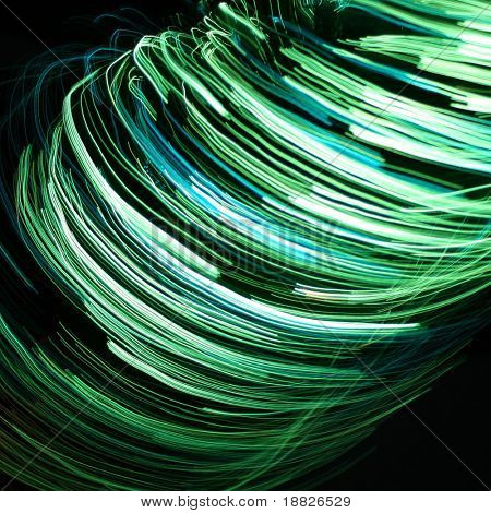 Green abstract rotation lines background