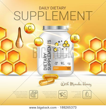 Manuka Honey dietary supplement ads. Vector Illustration with honey supplement contained in bottle and honey elements. Poster.