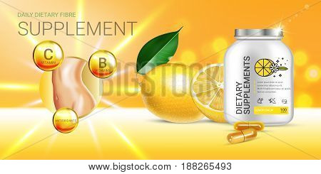 Lemon balm dietary supplement ads. Vector Illustration with Lemon supplement contained in bottle and lemon elements. Horizontal banner.