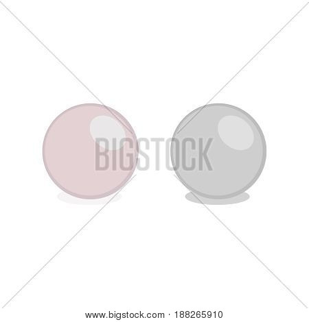 Vector pearl isolated on white background. Shiny oyster pearl ball for luxury