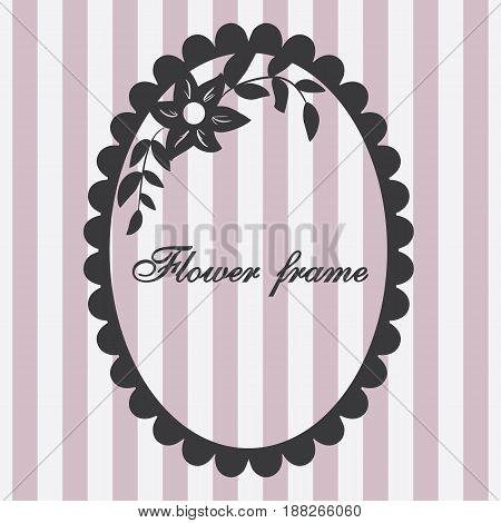 Vector vintage frame with flower ornament pink with format eps10.