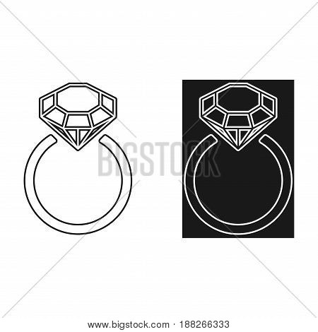 Diamond engagement ring icons with crystals. Vector Illustration. Black circle with shiny brilliant stone. isolated on white background. Flat fashion design element. Symbol engagement gift expensive.