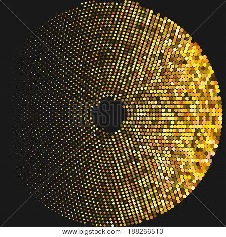Circle With Dots For Design Project. Halftone Effect Vector Illustration. Colorful Dots On White Bac