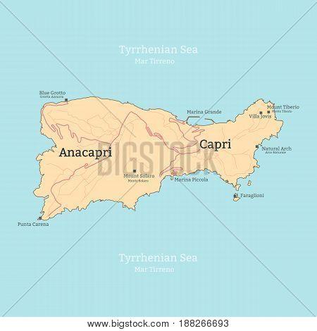 Map of the island of Capri Italy Campania. Vector illustration.