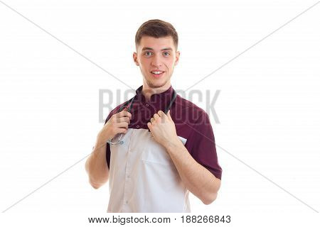 a beaming laboratory assistant keeps the neck stethoscope isolated on white background