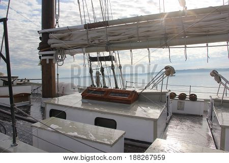 The weather deck of a Great Lakes Schooner