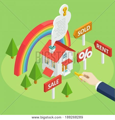 Set of vector isometric projection illustrations for ad and projects about the rent or sale of houses, apartments and premises with rainbow and man hand. Flat e-commerce symbols for buy or sell home
