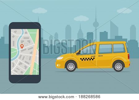 Taxi cab and mobile phone with map on city background. Taxi service concept . Flat style vector illustration.