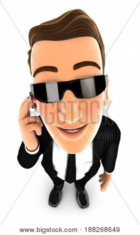 3d security agent standing and looking up at camera illustration with isolated white background