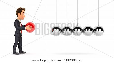 3d businessman playing with newton cradle illustration with isolated white background