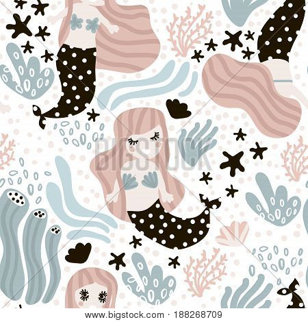 Seamless childish pattern with cute mermaids. Undersea vector trendy texture.Perfect for fabrictextilewrapping