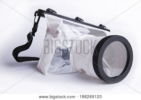 Waterproof Case For Digital Camera On White Background, Summer Accessory Of Photographer