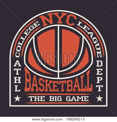 New York  basketball t-shirt graphic design. Print for sportswear apparel.