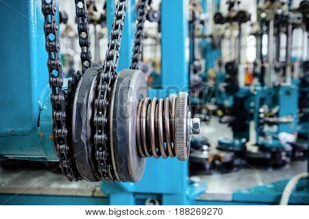Friction clutch. Chain drive, drive element of braiding machine.