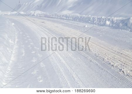 winter road in the mountains . A photo