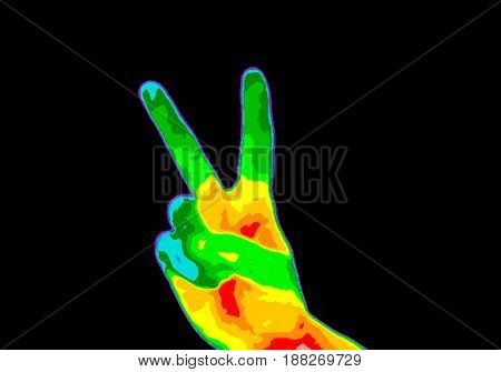 Thermographic image of a persons hand showing the peace sign with the photo showing different temperature in a range of colors from blue showing cold to red showing hot which can indicate joint inflammation.