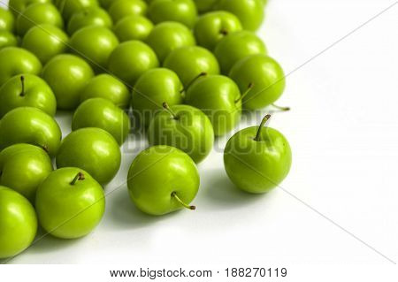 Quality and natural life-giving green sour plums