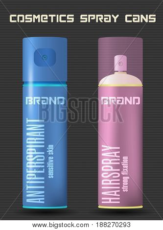 Cosmetic spray cans two balloons of deodorant antiperspirant and hairspray color vector illustration
