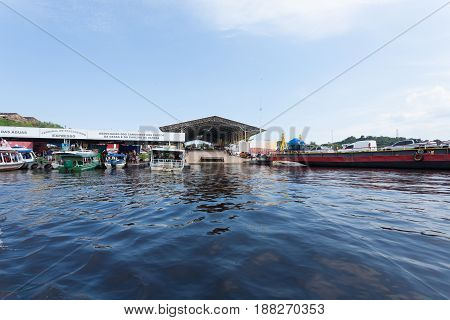 Manaus Port Detail. Brazilian Rivers Confluence