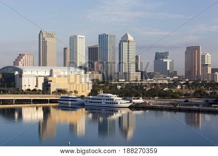 The morning view of Tampa downtown skyscrapers (Florida).