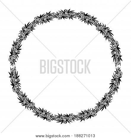 Mandala. Ethnic decorative round element for wedding design. Hand drawn sketch isolated lacy patterned frame. Islam, Arabic, Indian, ottoman motifs Boho style