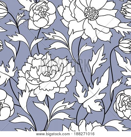 Floral pattern Flower rose ornamental background Flourish texture with dummer flower bouquet. Gentle floral tiled wallpaper