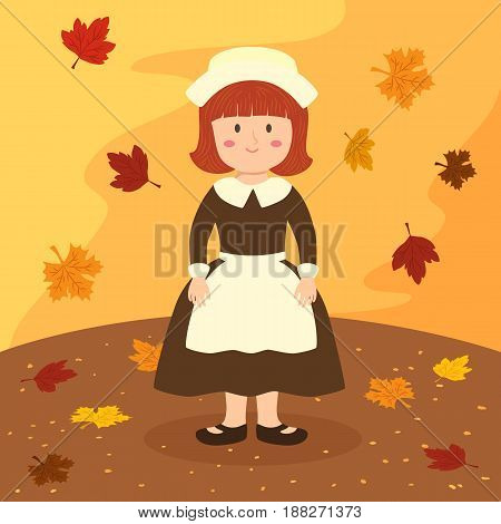 Thanksgiving Bonnet Apron Girl Cartoon Vector Illustration greeting card on autumn background.