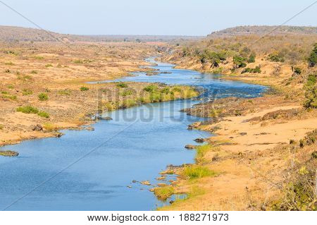 Olifants River panorama from Satara camp viewpoint Kruger National Park South Africa. African landscape. wild nature view. poster