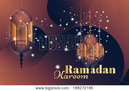 Ramadan Kareem greeting card. Beautiful glowing lamps on a background. Vector illustration EPS 10.