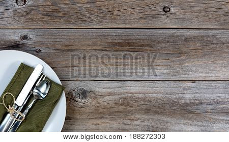 Vintage table setting on rustic wooden background