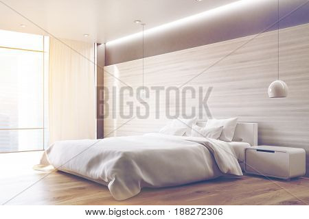 Corner of a gray wall bedroom interior with a double bed a bedside table two ceiling lamps and a large window. 3d rendering toned image