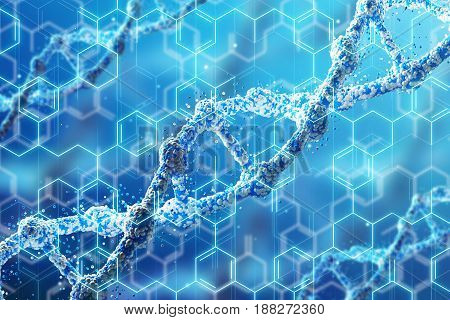 Blue diagonal DNA chain close up with blue chemical formulas on the foreground. Concept of research. Mock up