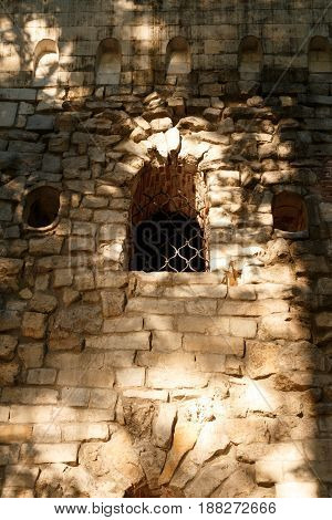 Ancient castle palace wall tower. Castles walls and window. Castles palace fort. Stone walls architecture. Protection concept