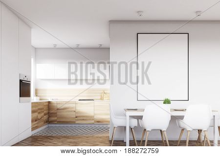 Front View Of White Kitchen With Poster