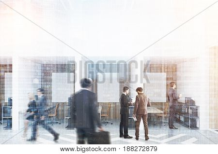 People in an office with white and wooden walls and diamond floor pattern. There are blank vertical pictures a desk with a computer a chair and shelves. 3d rendering mock up toned image