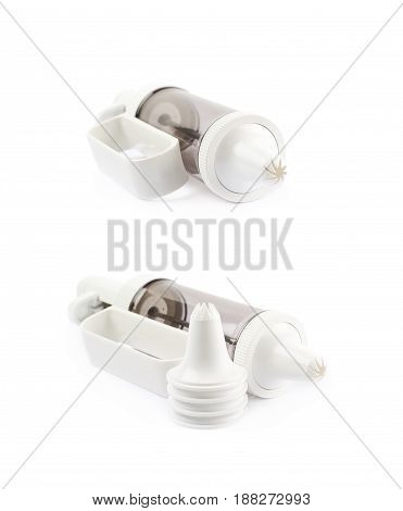 Cream piping syringe tool isolated over the white background, set of two different foreshortenings
