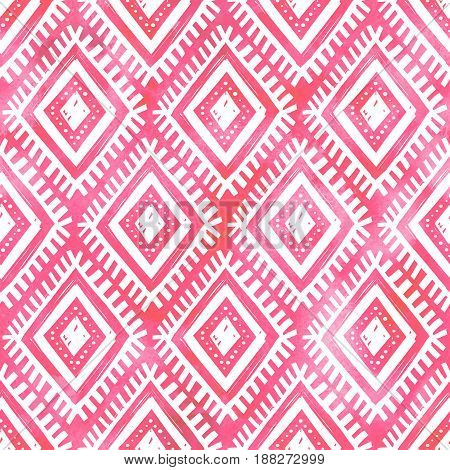Hand drawn white ornament on pink watercolor background, vector seamless pattern