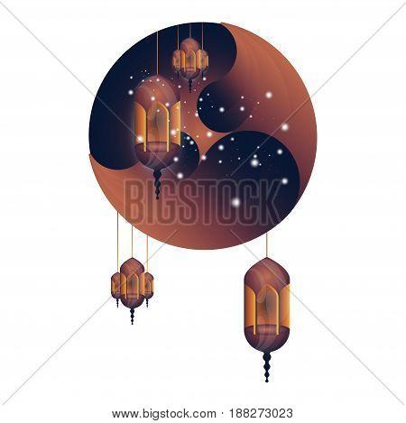 Ramadan Kareem greeting card. Beautiful glowing lamps on a white background. Vector illustration EPS 10.