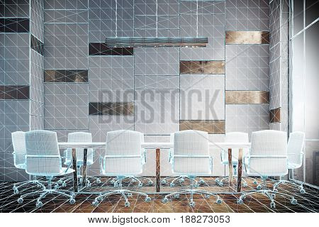 Virtual meeting room interior with wooden and white walls a long white table and a lot of white office chairs standing around it. 3d rendering mock up