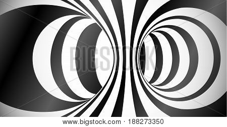 Vector circles surface optical illusion black and white abstract background