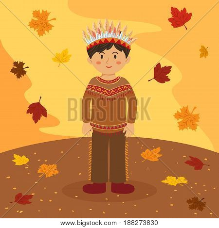 Thanksgiving Indian Boy Native American Cartoon Vector Illustration greeting card on autumn background.