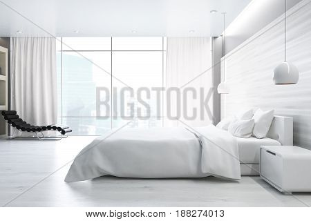 Side view of a white wall bedroom interior with a double bed a bedside table an armchair and a large window. 3d rendering
