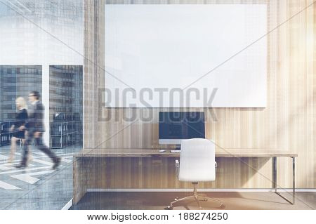 Office cubicles in an office with white and wooden walls. There is a blank horizontal picture a desk with a computer and a chair. Front view. 3d rendering mock up toned image double exposure