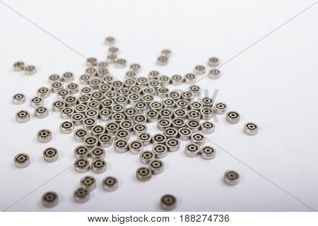 Used Ball Bearing On White Background